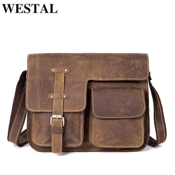 WESTAL Men s Bags Crazy Horse Genuine Leather Vintage Crossbody Bags for  Men Messenger Bag Men s Shoulder Bag Male 1050 7f41dde6dcedc