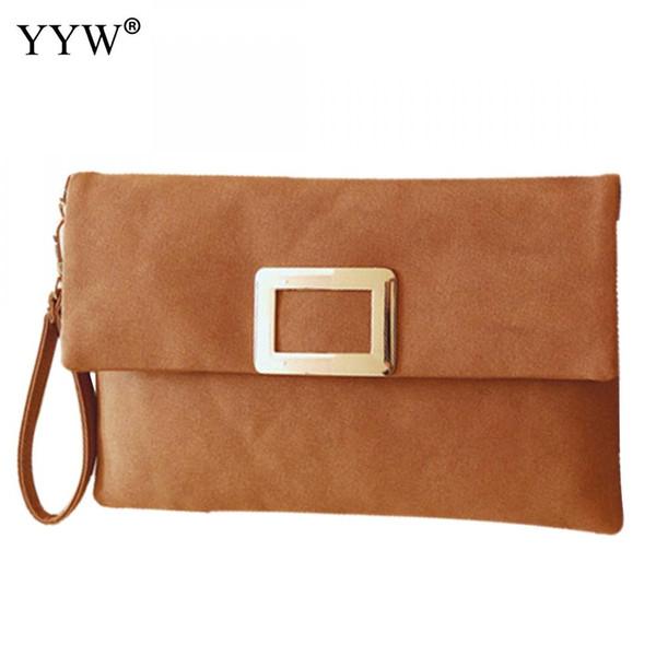 Famous Fashion Female Clutches Bag Yellow PU Leather Women Handbags Gray Envelope Bag Black Shoulder Bags Evening Party