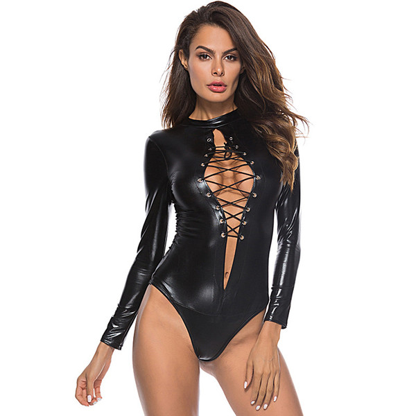Exotic Apparel Zipper Leather Sexy Lingerie Hot Bodysuit Women Sexy Rompers Womens Babydoll Open Crotch Sexy Costumes Latex Lenceria Sexy 454