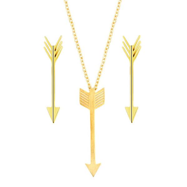 Mode Brincos 2018 Rose Gold Feder Pfeil Anhänger Halskette Ohrringe Für Frauen Männer Türkische Schmuck Set Edelstahl Schmuck