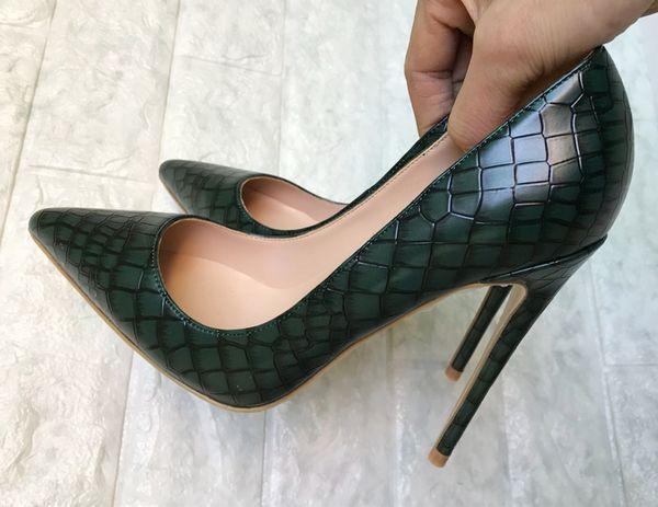 Koyu yeşil yüksek topuklu ayakkabılar, 2018 kadın, yeni ince ve taş sivri 12 cm, yüksek topuklu ayakkabılar, kadın tek ayakkabı, kaliteli kadın sho