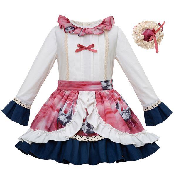 Pettigirl Autumn Wedding Girls Clothing Set Long Sleeves White Outfit and Flower Pirnted Skirt For Childern G-DMCS101-B201
