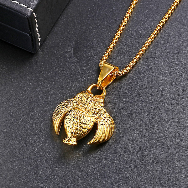Fashion Punk Men Owl Pendant Necklace Hip Hop Gold Jewelry Design Stainless Steel 60cm Long Chain Men Necklace Gifts For Men