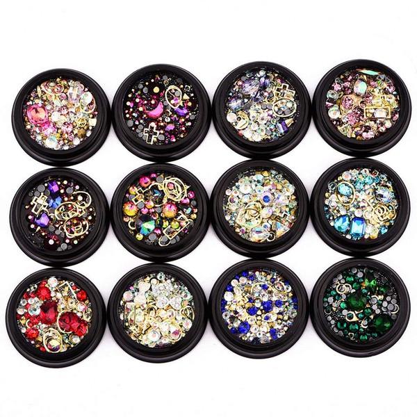 JEYL Hot 12 Pack Mezcla de colores Nail Art Decor Accesorios Decoraciones Diamantes de imitación Diamantes Cristales Espárragos de metal Cuentas Gemas para