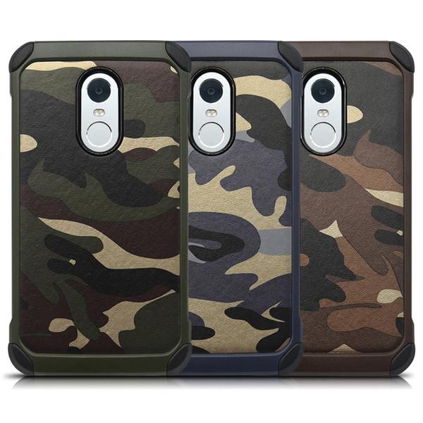 Cas de camouflage de style armée pour Xiaomi Redmi Note3 Note4 Étuis Camo Anti Shock Matt Couverture arrière dure pour Rouge Mi Note 2 3 4 Protecteur
