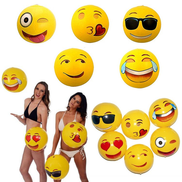 12inch PVC Emoji Beach Ball Party Toys Expression Face Inflatable Ball Adult Children Sand Play Water Fun Toys Party Supplies T1I431