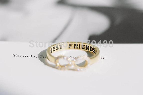 Wholesale- 1 Piece-R023 crystal best friend infinity best friends rings infinity cute simple lovely pretty trendy girls rings for women