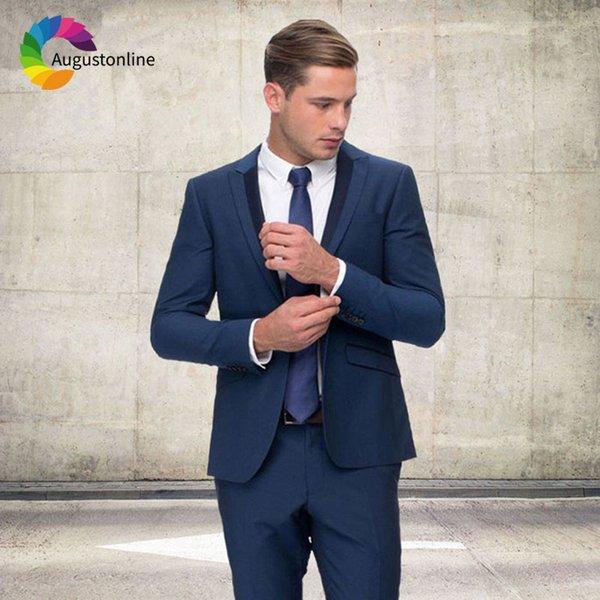 Trajes de boda hechos a medida en color azul marino para hombre Trajes de boda Blazer en color blanco 2Piezas en forma de pico solapa Slim Fit novio Terno Masculino