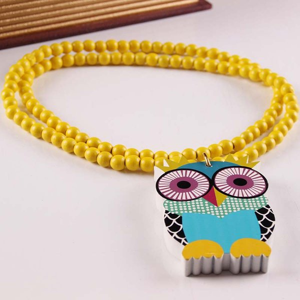 10PCS Color Owl Wooden Sign Good Wood Beads Hip Hop Necklace Beads Jewery Long Chain Necklaces DJ Rock Accessories