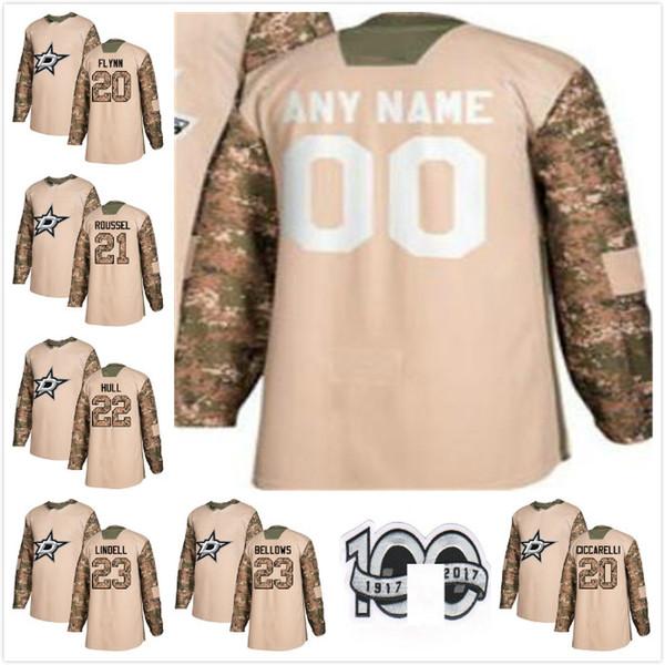 half off 43256 908cb 2019 2017 2018 Season Dallas Stars Antoine Roussel Brian Flynn Esa Lindell  BRIAN BELLOWS BRETT HULL Dino Ciccarelli Hockey Jersey Men Camo White From  ...
