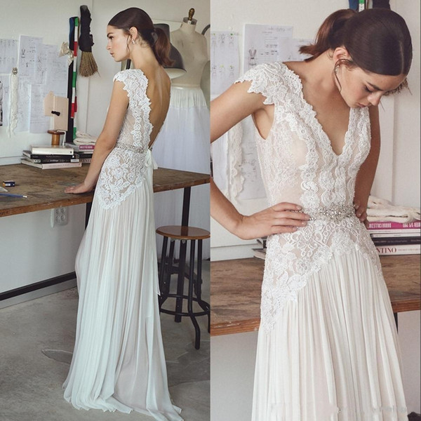 2018 White Sexy V-Neck Lace A-Line Wedding Dresses Elegant Backless Cap Sleeves Appliques Crystals Bridal Gowns Plus Size Vestidos De Noiva