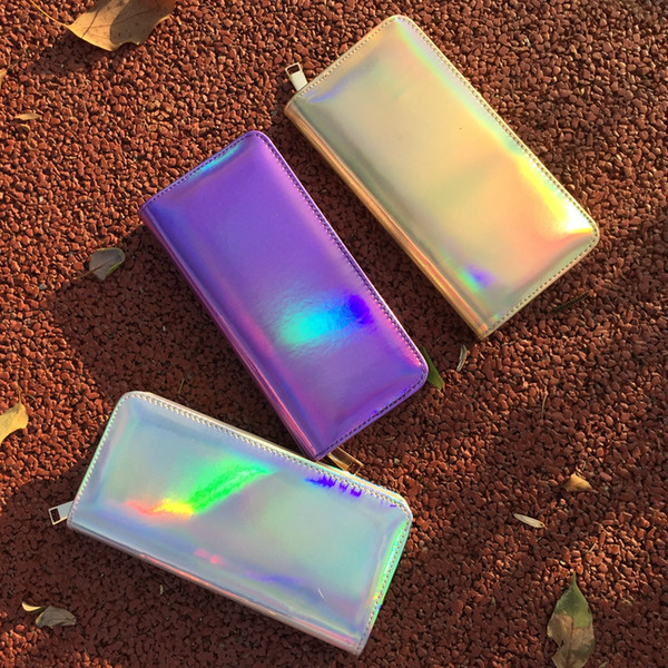 best selling DHL Holographic Long Wallet Fashion Design Shining PU Leather Zipper Wallets Money Bank Card Holder Phone Clutch Purses 8 Color