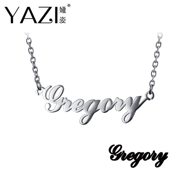 YAZI Custom Name Necklace Copper Gold Color Plated Personalized Custom Pendant Memory Gift Nameplate typeface Engraved Jewelry