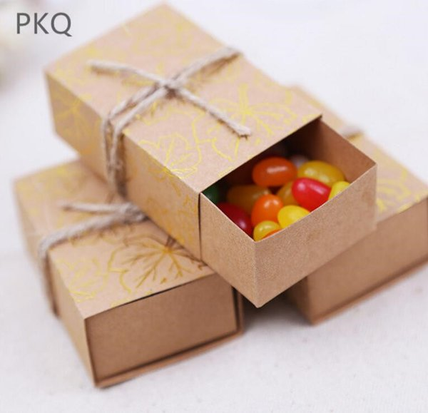 50pcs hot sale wedding baby shower candy box kraft paper drawer box for packaging brown cardboard carton box for Christmas