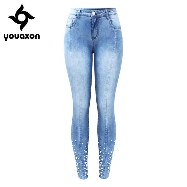 2160 Youaxon Новый Жемчуг шипованных джинсы Женские середины высокой талии стрейч лоскутное джинсовые узкие брюки пр джинсы для женщин