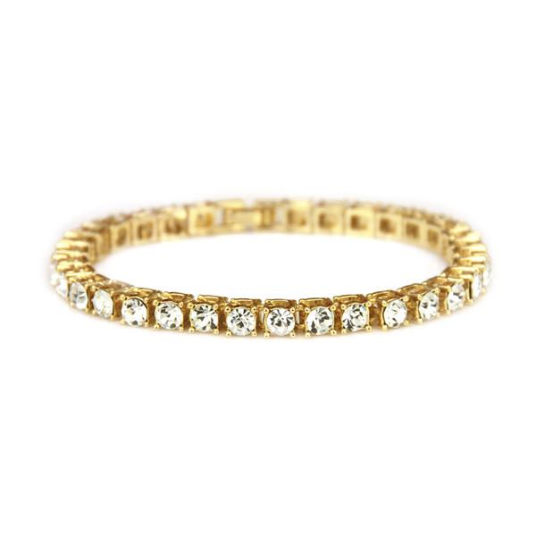 Round Cut Tennis Bracelet Zirconia Triple Lock Hiphop Jewelry 1 Row Cubic Luxury Crystal CZ Men Fashion Charm Bracelets