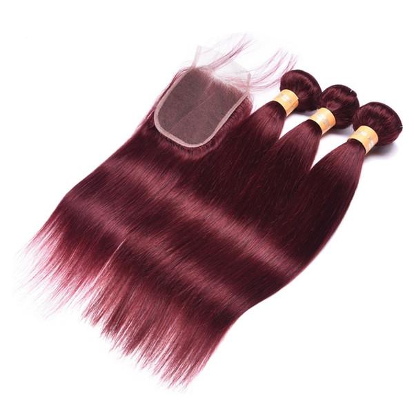 Bundle pre-colorati 99J rosso scuro con chiusura capelli brasiliani a fascio dritto con chiusura a capelli umani remy pre pizzicati