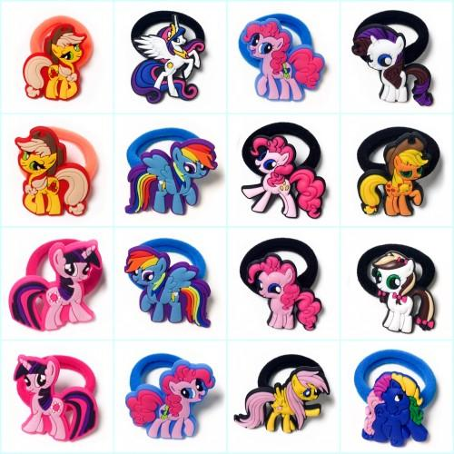 Retail 100pcs Cute Horses Pony Tails Holder Cartoon Hairbands Headwear Hair Accessory PVC+Elastic Bands Kid Gift Party Favors Hair Jewelry