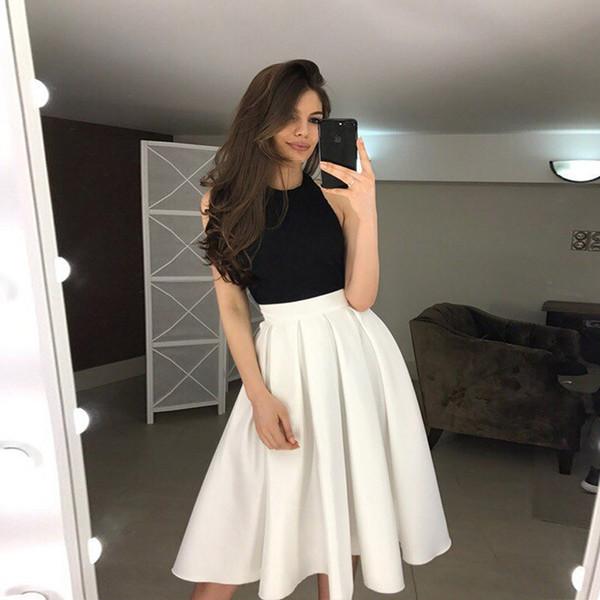 Compre 2018 Nueva Llegada Vestido De Regreso A Casa Corto Sin Espalda Blanco Y Negro Sin Espalda Sencilla Para Adolescentes Vestido De Fiesta De