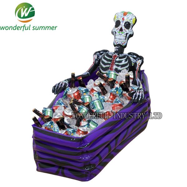 102 * 30 * 26 cm crâne gonflable glacière squelette boisson seau à glace Halloween Party Supply décoration de Noël jouets en plein air Vaisselle