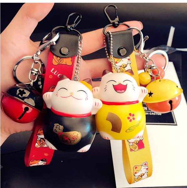 Cartoon Cute Animal Smile Face Lucky Cat Keychain Braid Belt Bells Key Ring Women Car Bag Charm Key Chains Pendant Trinkets Gift