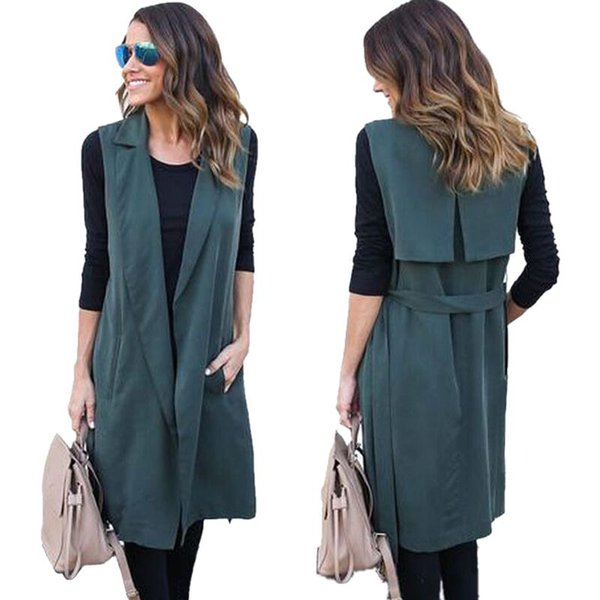 Spring Windbreaker Women Long Trench Coat Loose 2018 Clothes For Lady Cardigan Turn-down Collar Sleeveless Outerwear With Belt