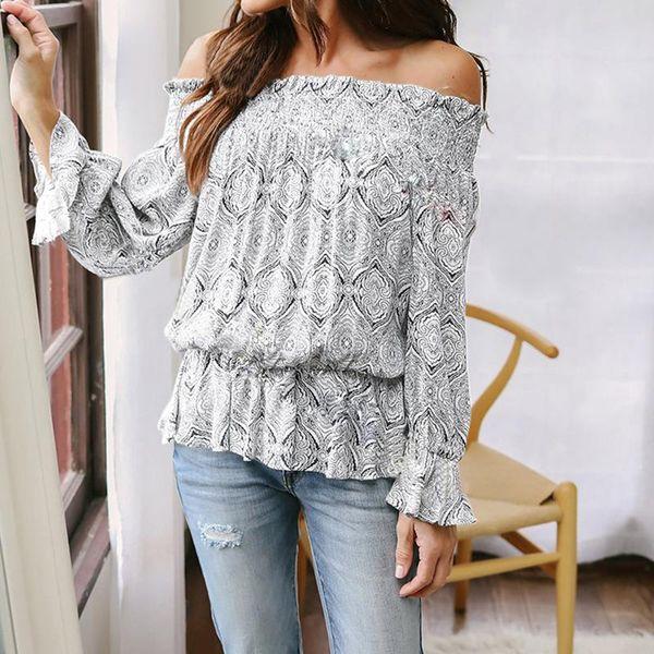 Seksi Casual Bluz Gevşek Seksi Kadınlar Kapalı Omuz Uzun Kollu Gömlek Tops Çiçek Baskı Bluz Blusa WS6362V Tops