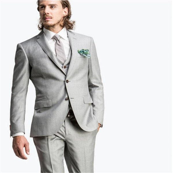 Maßgeschneiderte elegante hellgrau männer Blazer Anzug Männer Mode Dünne Anzüge Für Hochzeit Formale Für Prom (Jacke + Pants + weste + Tie)