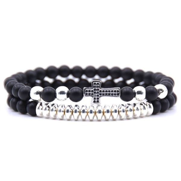 4 Color Natural Stone Black 6mm Beads Bracelets 2pcs/Set Cross Charms Bracelet Set Accessories Couple Elastic Bangle Jewelry Best Gift H795F