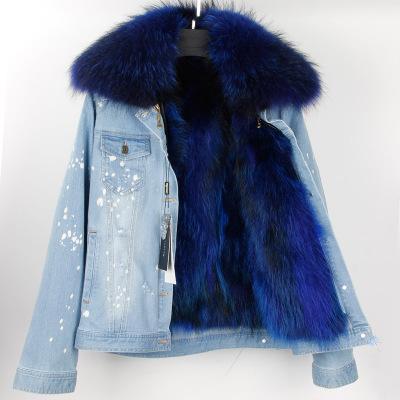 online store b944e 4b59f Acquista Giacca Jeans Donna Denim Punti Bianchi Con Collo Di Pelliccia Di  Raccoon Rimovibile + Cappotti Di Fodera In Pelliccia Di Procione A $133.42  ...