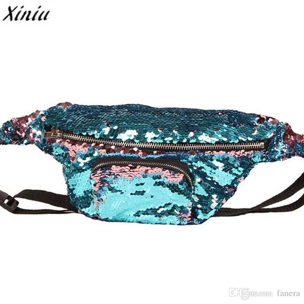 xiniu 2017 New Arrival High Quality Double Color Sequins Waist Bag Money Phone Travel Handy Fanny Multi-function Waist Pack Bags