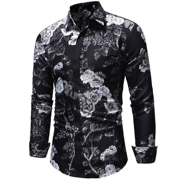 2018 autumn new casual men's 3D printing long-sleeved shirt Sweatshirt jacket men's fashion Slim flower shirt free shipping
