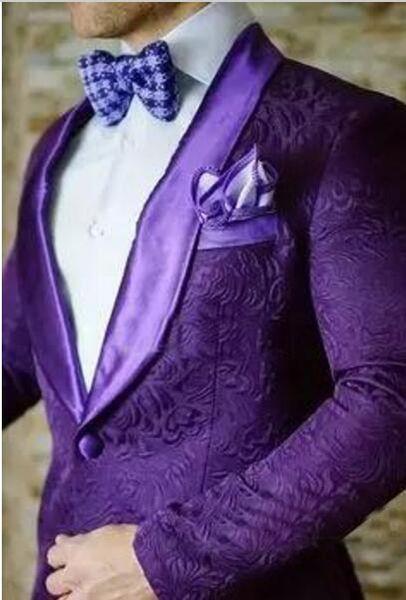 Nueva llegada Groomsmen Shoul Purple Lapel Groom Tuxedos Un botón para hombre Boda / Bailarinas de baile Best Man Blazer (Chaqueta + Pantalones + Pajarita) M48