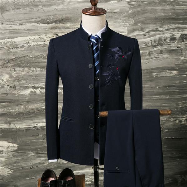 (Jacket+Vest+Pants)Chinese style autumn suit men's wear stand-up collar trim suit three pieces wedding dress men