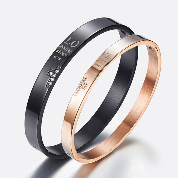 European and American jewelry wholesale cross lovers Bracelet titanium steel lovers Rose Gold Black Bracelet