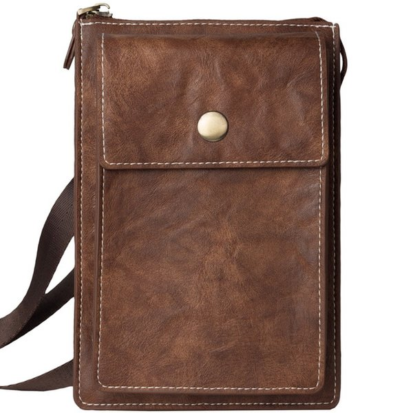 Men Genuine Leather Mobile Phone Pouch Waist Pack With Belt Loop Cell Phone Small Shoulder Bag Crossbody Pack With Shoulder Strap