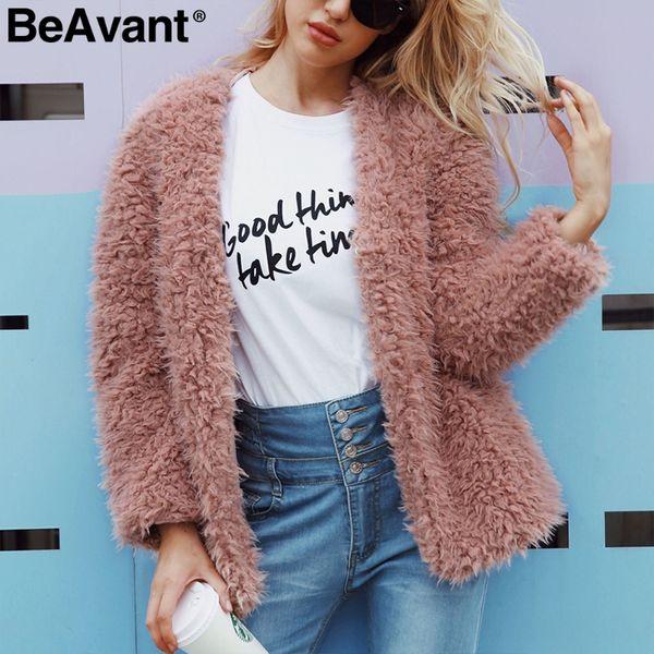 9937b1462ee BeAvant V neck faux fur winter woman coat 2018 Autumn warm short teddy bear  coat female