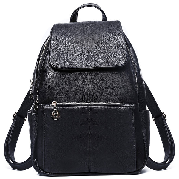 New soft leather backpack Korean version of the trend of fashion ladies backpack travel handbags student bag