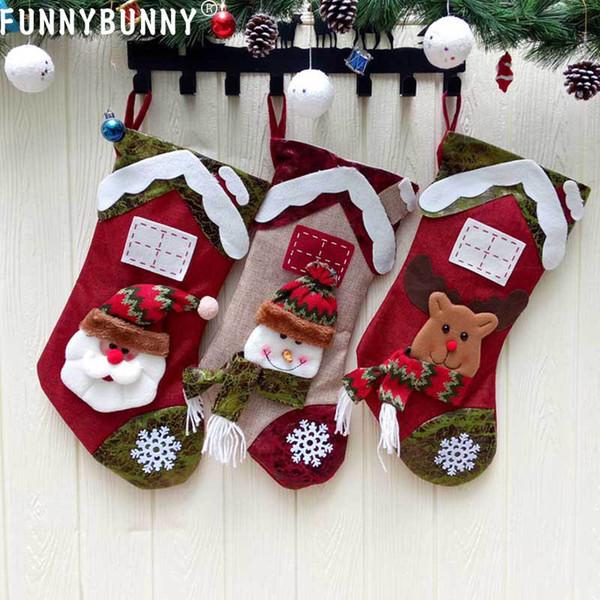 FUNNYBUNNY Christmas Decorations Non-woven Christmas stockings pendants Santa Claus snowman elk gift bags