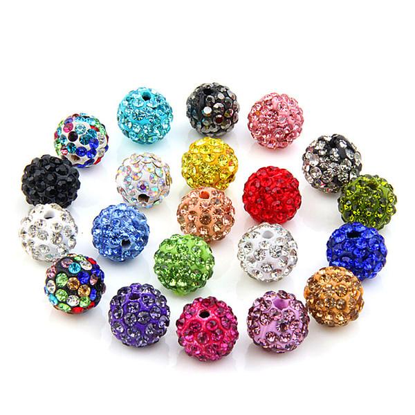 KoMee New Arrival 8mm Shamballa Beads 20pcs/lot Clay Crystal beads Shamballa Diy beads for jewelry making Fashion Jewelry