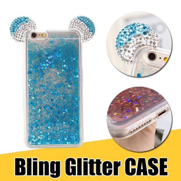 Funda transparente TPU para el teléfono con diamantes, diamantes de imitación, arenas movedizas, tapa trasera líquida con diseño de oreja divertido para iPhone XS X 8 7 6 s más