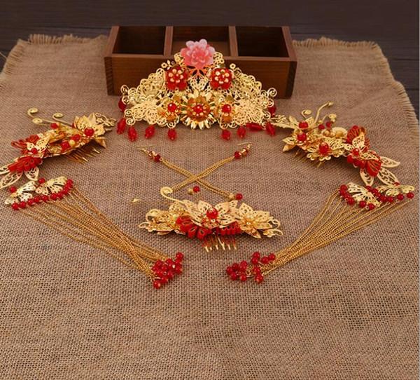 Nuovi pettini della nappa pettine del metallo del fiore diadema nuziale accessori fatti a mano del pettine dei capelli del costume all'ingrosso