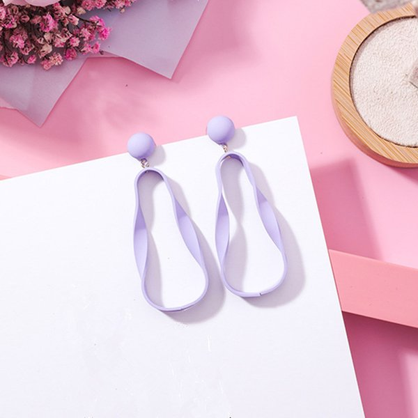 Irregular Acrylic Wave Round Circle Long Drop Earrings Summer Fashion Candy Color Elegant Jewelry For Women Girls Brincos EC677