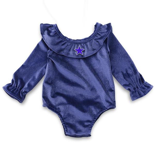 NEW ins Korean velvet lotus collar infant deep blue rompers kids star print long sleeved Jumpsuits 0-2years