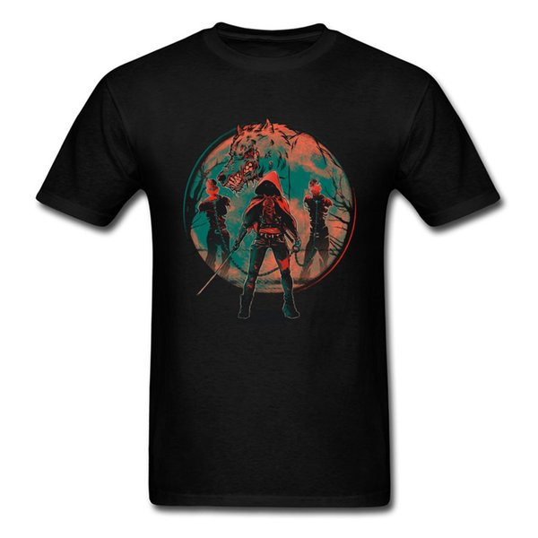 3XL Cool T-shirt Big Wolf Red Hood Print Man Shirt Custom Fashion Black Tees Short Sleeve Anime Trend