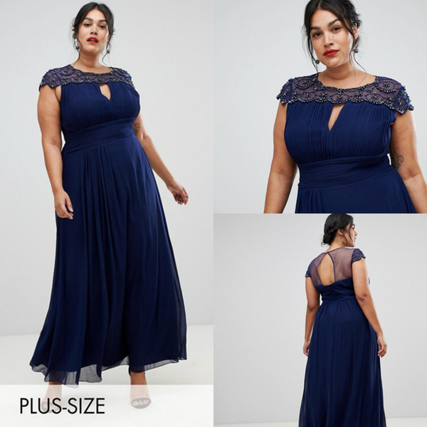 Chic Mother Of The Bride Dresses Jewel Neck Cap Sleeve Beaded A Line Chiffon Mother Gowns Dark Navy Plus Size Prom Dress Party