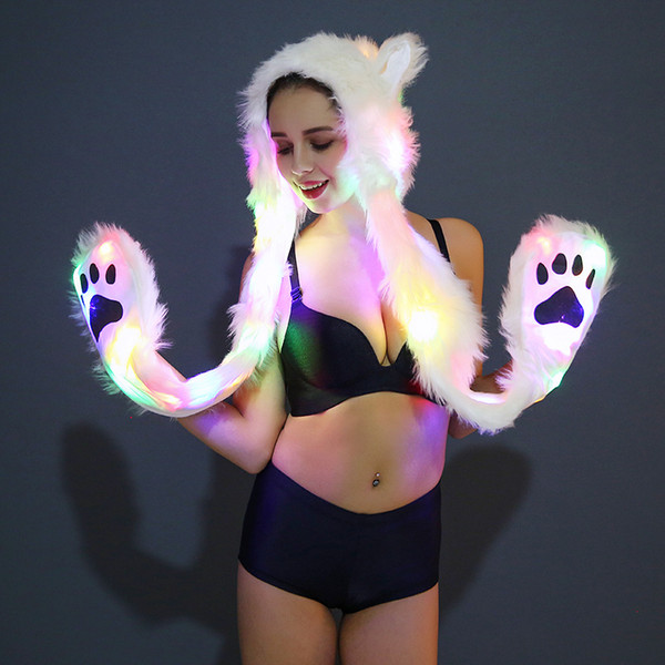 Halloween Party Novelty Cosplay Sexy Costumes LED Faux Fur Hat Light Up Hood Animal Bear Claw Warm Animal Cap Scarf Gloves