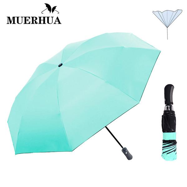 MUERHUA New Automatic Reverse Umbrella Chuva Mulheres Revestimento Preto Moda Cor Invertido Chuva Guarda-chuva Para O Homem 3 Dobrável Ensolarado