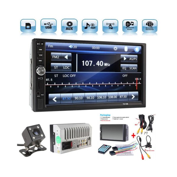 "7"" TFT Digital HD Touch Bluetooth Car GPS Stereo 2 DIN Audio MP3 MP5 Player Radio FM +Rear View Camera New"