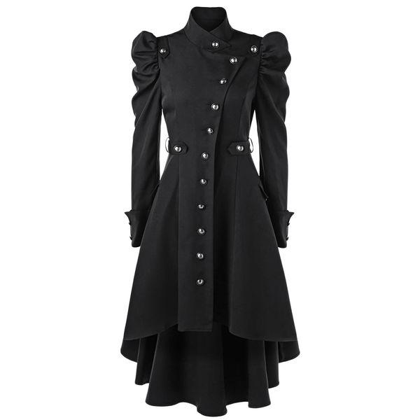 Kenancy Frauen Puff Shoulder Button Up Dip Saum Trenchcoat für Frauen Fashion St-Up Kragen Hohe Taille Oberbekleidung Winter Mäntel